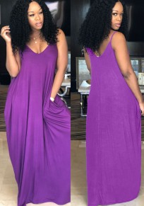 Purple Pockets Spaghetti Strap Backless Deep V-neck Casual Party Maxi Dress
