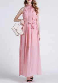 Pink Sashes Draped Lace-up Bohemian Party Chiffon Maxi Dress