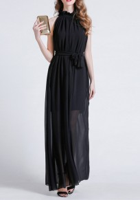 Black Sashes Draped Lace-up Bohemian Party Chiffon Maxi Dress