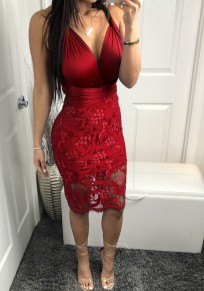 Wine Red Patchwork Lace Tie Back V-neck Fashion Midi Dress