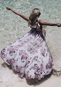 White Floral Print Pleated Deep V-neck Backlesss Flowy Bohemian Beach Party Maxi Dress