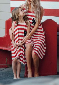 Red American Flag Print Tassel Pockets Mommy And Me Independence Day Midi Dress