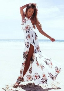 White Floral Print Halter Neck Tie Back Side Slit Sashes Fashion Flowy Bohemia Beach Maxi Dress