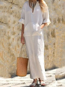 White Pockets Double Slit V-neck Church Elegance Casual Going out Maxi Dress