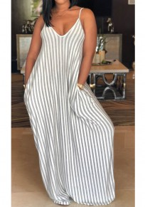Grey Striped Pockets Spaghetti Strap Backless V-neck Party Maxi Dress