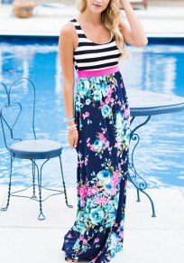 Navy Blue Striped Floral Pattern High Waisted Country Bohemian Party Maxi Dress