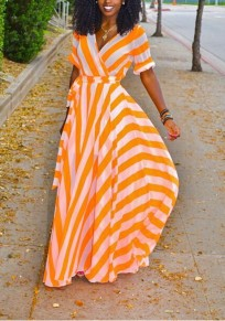 Orange-White Striped Sashes Draped V-neck High Waisted Elegant Bohemian Party Maxi Dress