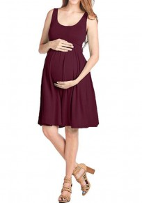 Burgundy Draped High Waisted Shoulder-Strap Pleated Casual Maternity Mini Dress