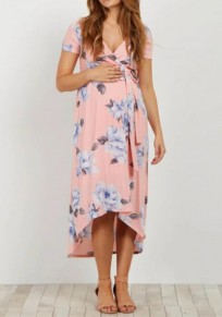 Pink Floral Print Sashes High-Low Deep V-neck Flowy Bohemian Maternity Maxi Summmer Dress