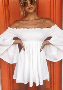 White Draped Off Shoulder Pleated Flare Sleeve Sweet Graduated Homecoming Party Mini Dress