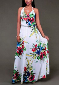 White Floral Draped Halter Neck V-neck Backless Bohemian Country Party Maxi Dress