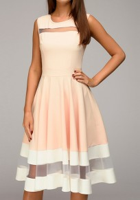 Pink-White Patchwork Grenadine High Waisted Tutu Homecoming Graduation Party Midi Dress