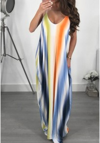 Blue Striped Pockets Draped Spaghetti Strap Rainbow Backless Boho Party Maxi Summer Dress