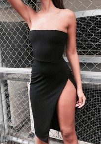 Black Irregular Side Slit Off Shoulder Backless Bodycon Fashion Midi Dress