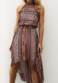 Orange Floral Print Draped High-Low Halter Neck Off Shoulder Flowy Bohemian Beach Maxi Dress