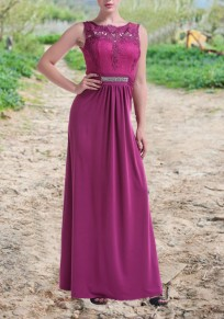 Red Lace Sequin Draped High Waisted Formal Elegant Formal Prom Party Maxi Dress