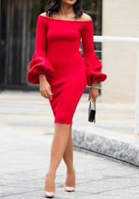 Red Off Shoulder Backless Puff Sleeve Bodycon Elegant Party Midi Dress