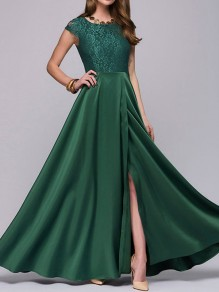 Green Patchwork Lace Draped Side Slit Elegant Banquet Formal Party Maxi Dress