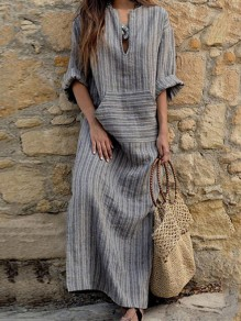 Grey Striped Pockets Plus Size V-neck Muslim Casual Maxi Dress