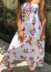 White Red Butterfly Print Draped Bandeau Off Shoulder Multi Way Bohemian Maxi Dress
