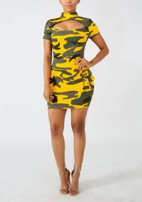 Yellow Camo Print Cut Out Irregular Pockets Bodycon Casual Mini Dress
