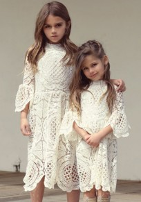 White Floral Draped Cut Out Flare Sleeve Child Elegant Sweet Party Midi Dress