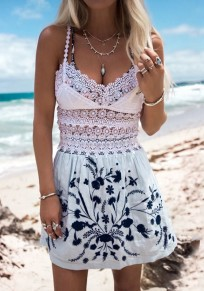 White Floral Lace Spaghetti Strap V-neck High Waisted Cute Party Mini Dress