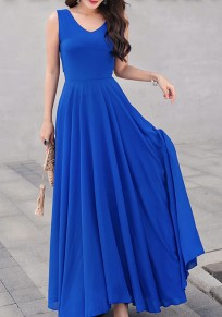 Blue Draped Flowy V-neck Elegant Bohemian Party Chiffon Maxi Dress
