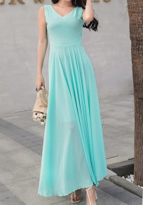 Green Draped Flowy V-neck Elegant Bohemian Party Chiffon Maxi Dress