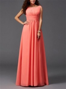 Orange Draped Bodycon For Wedding Gowns Elegant Party Chiffon Maxi Dress