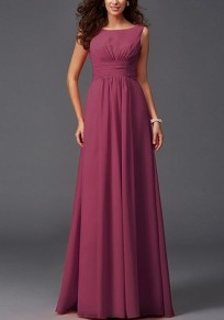 Burgundy Draped Bodycon For Wedding Gowns Elegant Party Chiffon Maxi Dress