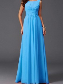 Light Blue Draped Bodycon For Wedding Gowns Elegant Party Chiffon Maxi Dress