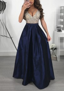 Navy Blue Sequin Pleated Glitter Deep V-neck High Waisted Elegant Graduation Party Maxi Dress
