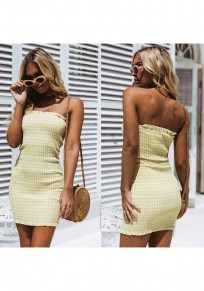 Yellow Plaid Ruffle Bandeau Boat Neck Fashion Mini Dress