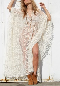 White Lace Grenadine V-neck Bohemian Party Maxi Dress
