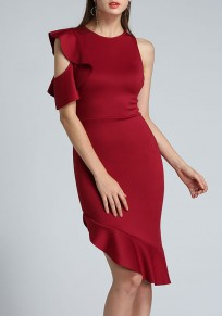 7f1c3bc9915 Wine Red Irregular Ruffle Cut Out Zipper Round Neck Party Midi Dress