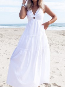 White Draped Halter Neck Backless V-neck Bohemian Elegant Maxi Dress