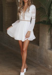White Patchwork Drawstring Cut Out Lace V-neck Pleated Sweet Graduation Party Mini Dress