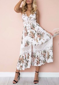 White Floral Patchwork Lace Cut Out Spaghetti Strap Front Slit Falbala Bohemian Sundress Maxi Dress