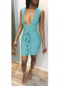 Light Blue Pleated Ruffle Deep V-neck Bodycon Club Evening Cocktail Party Mini Dress