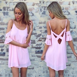 Pink Patchwork Lace Cut Out Spaghetti Strap Backless Sweet Mini Dress