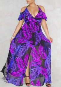 Purple Palm Leaf Print Draped Slit Off Shoulder Halter Neck Deep V-neck Flowy Bohemian Maxi Dress