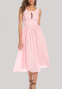 Pink Draped Cut Out Flowy Elegant Party Chiffon Midi Dress