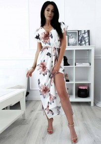 White Floral Ruffle Sashes V-neck Fashion Midi?Dress