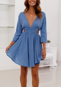 Blue Pleated Backless 3/4 Sleeve Deep V-neck Sweet Party Mini Dress
