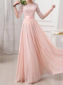 07647e32f96d Pink Lace Cut Out Draped Banquet Formal Elegant Party Maxi Dress