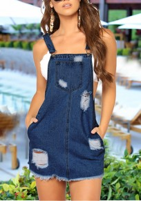 Blue Shoulder-Strap Buttons Pockets Cut Out Destroyed Denim Cute Casual Mini Dress