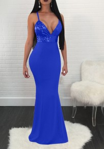 Sapphire Blue Patchwork Sequin Spaghetti Strap Backless Deep V-neck Elegant Party Maxi Dress