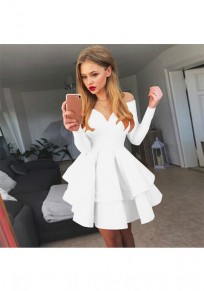 White Off Shoulder Cascading Ruffle High Waisted Tutu Cute Graduation Party Mini Dress