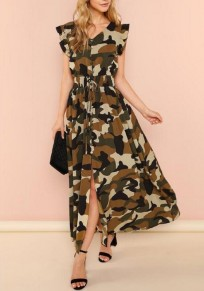 Camouflage Print Drawstring Button up Slit Ruffle Deep V-neck A-Line Casual Maxi Dress